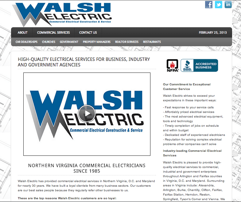 Walsh Electric launched its new website today, specifically catering to the commercial industry.